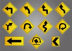 Directional Arrow Metal Labels