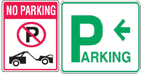 Parking and No Parking Signs Labels